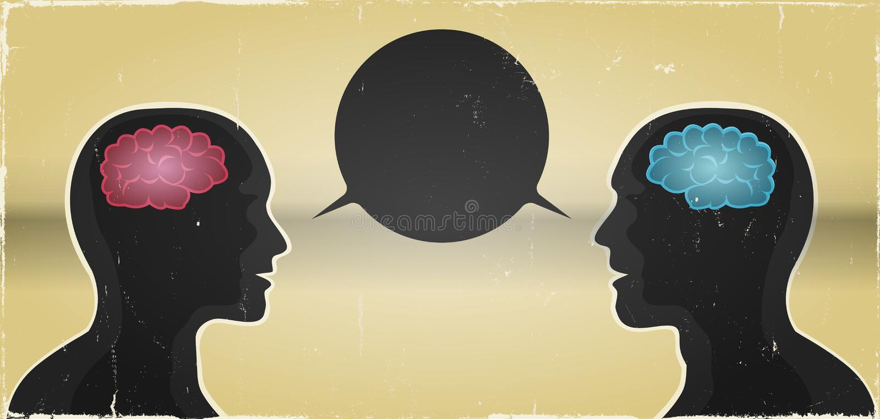 Grunge kobiety I mężczyzna komunikaci tło ilustracja wektor