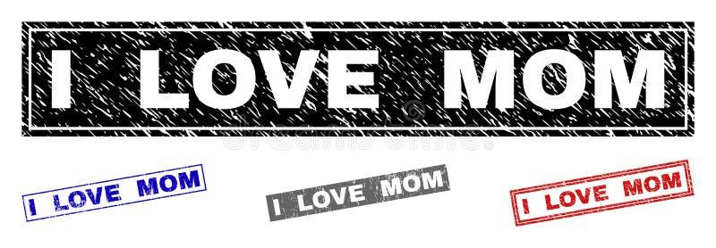 Grunge KOCHAM mama Drapających prostokątów znaczki ilustracji