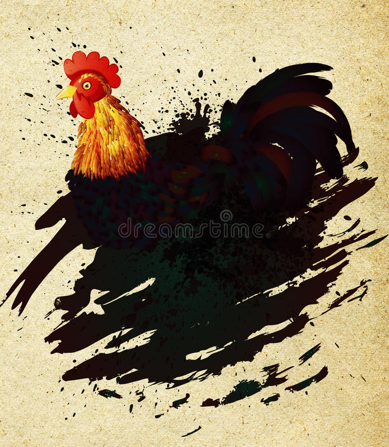 Grunge kogut ilustracja wektor