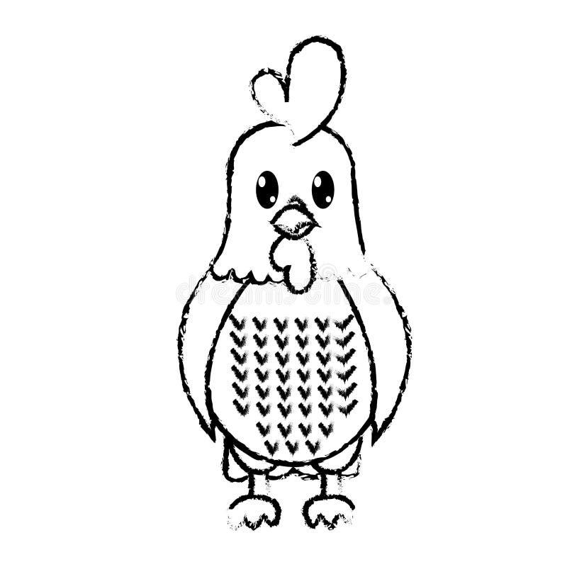 Grunge koguta zwierzęta gospodarskie śliczny charakter ilustracji