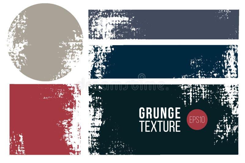 Grunge kolekcja, odznaka lub etykietka set, Wektorowe cierpienie tekstury w prostokątnych i round kształtach t?o textured royalty ilustracja