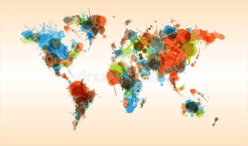 Grunge kolorowa światowa mapa royalty ilustracja