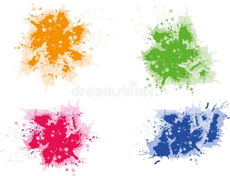 grunge kolorowi splats ilustracja wektor