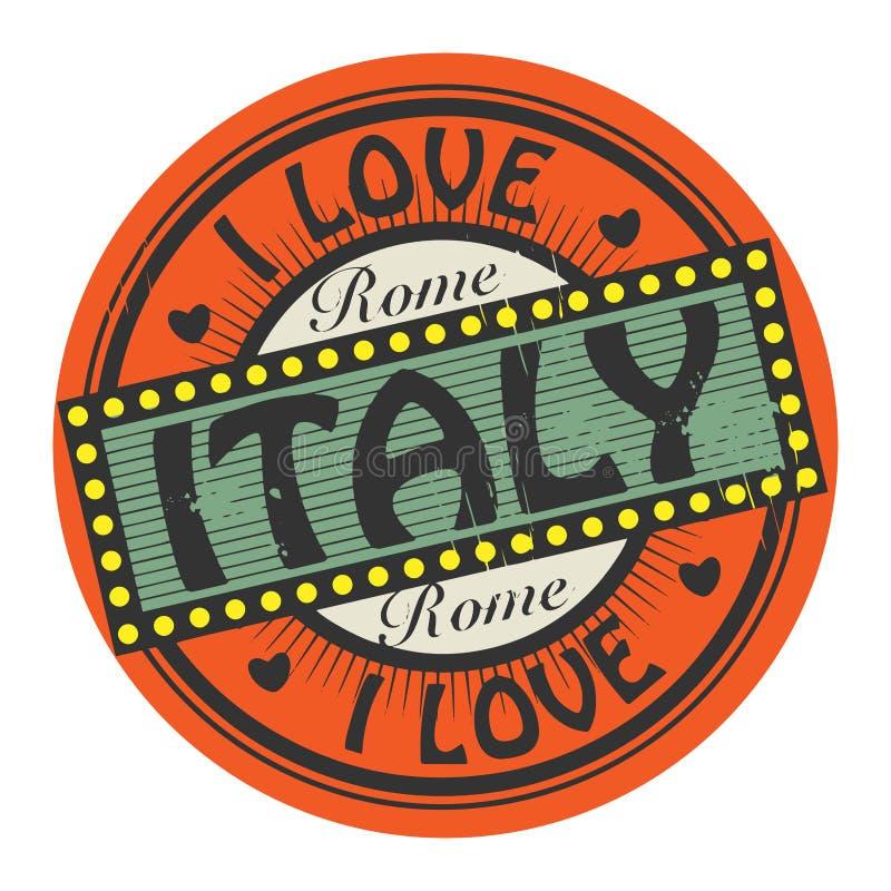 Grunge koloru znaczek z tekstem Kocham Włochy inside ilustracji