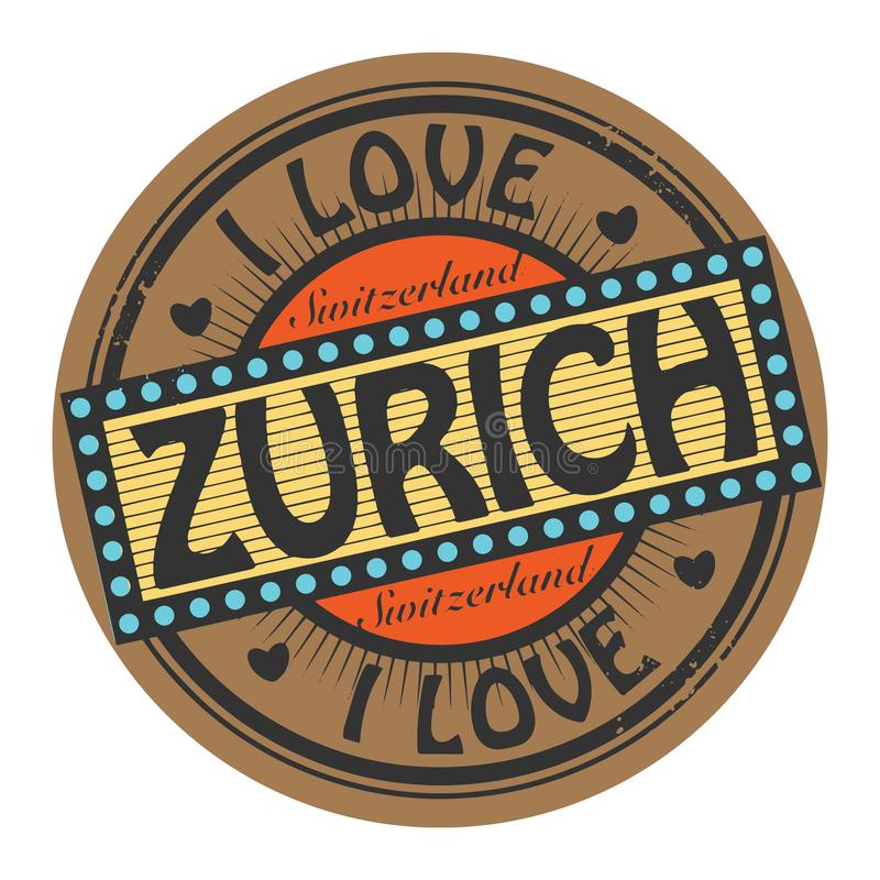 Grunge koloru znaczek z tekstem Kocham Zurich inside royalty ilustracja