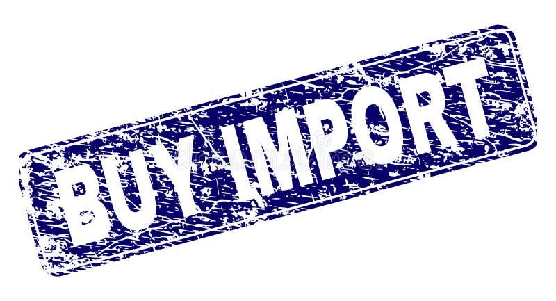 Grunge KOOPT de INVOER ontwierp Rond gemaakte Rechthoekzegel stock illustratie