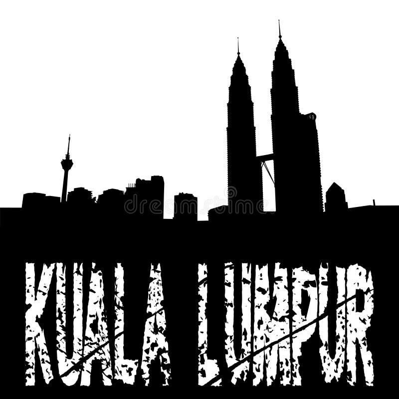 Grunge Kuala Lumpur with skyline vector illustration