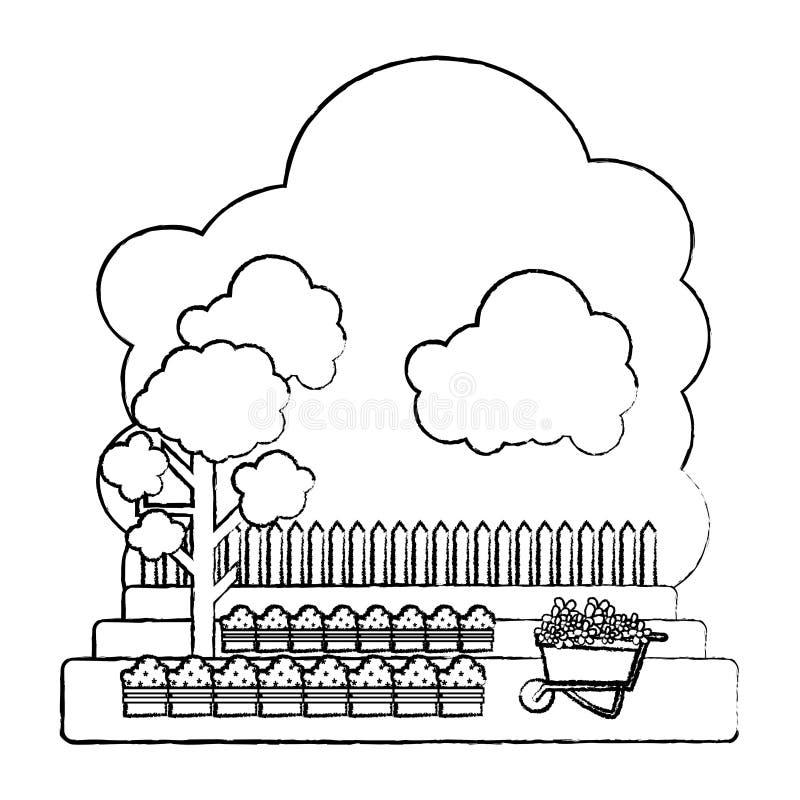 Grunge kultywujący z drzewnym i drewnianym grillage gospodarstwem rolnym royalty ilustracja