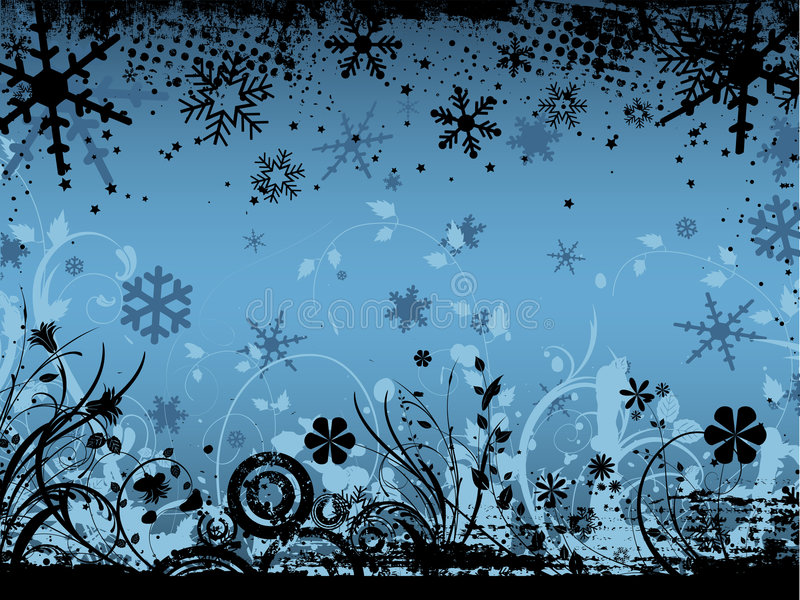 grunge kwiecista zimy. ilustracji
