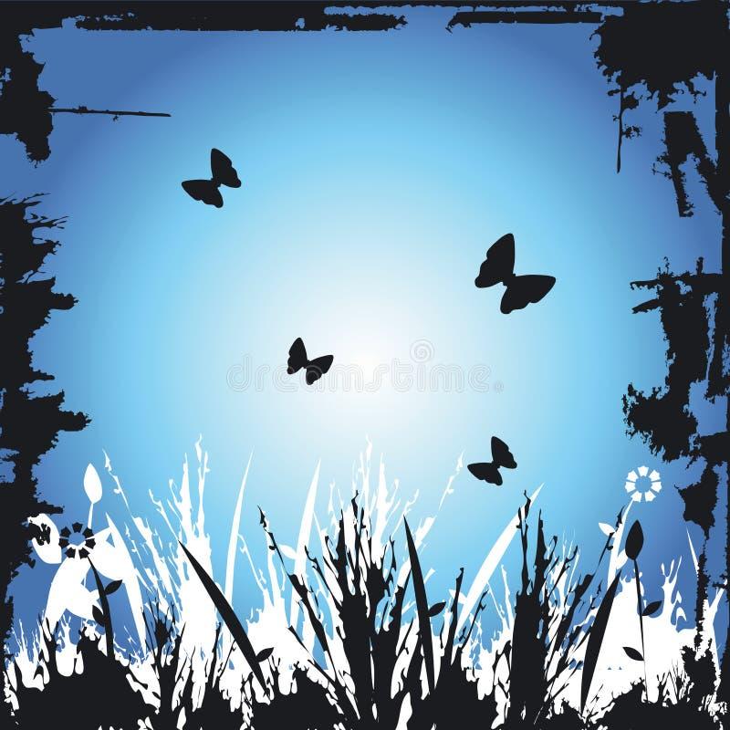 grunge kwiecisty graniczny obraz ilustracji