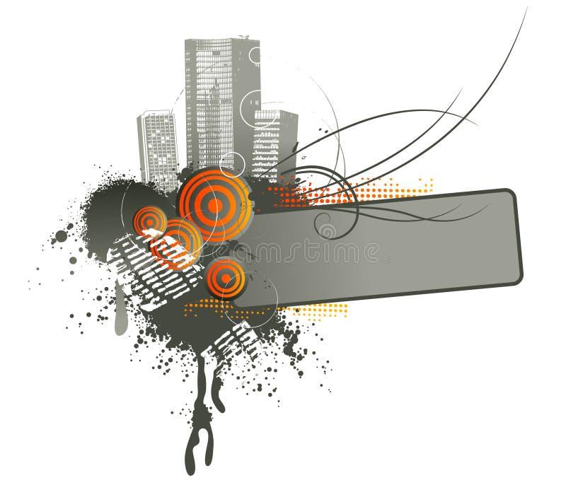 grunge kwiecisty miasta. ilustracji
