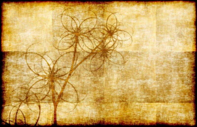 grunge kwiecisty pergamin ilustracji
