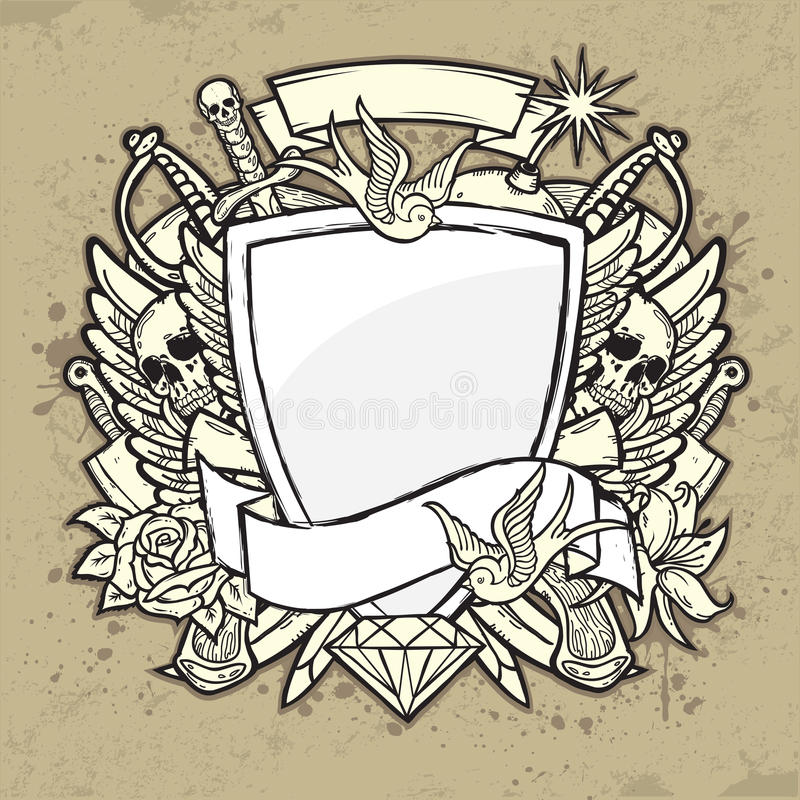 Grunge Label With Shield Stock Photo