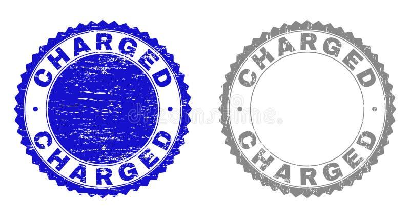 Grunge LADDADE skrapade stämpelskyddsremsor stock illustrationer