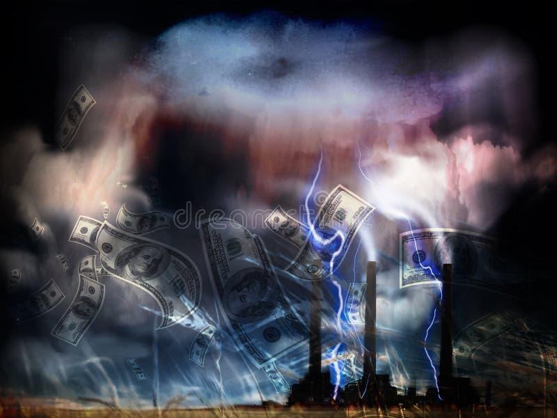 Grunge Landscape z fabryką fotografia stock
