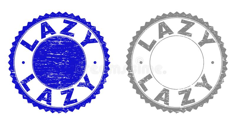 Grunge LAZY Scratched Stamp Seals. Grunge LAZY stamp seals isolated on a white background. Rosette seals with grunge texture in blue and grey colors. Vector royalty free illustration