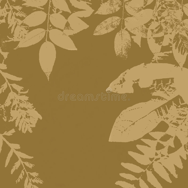 Grunge leaves silhouette. Leaves silhouette on a brown sepia tones grungy background with copyspace in the middle vector illustration