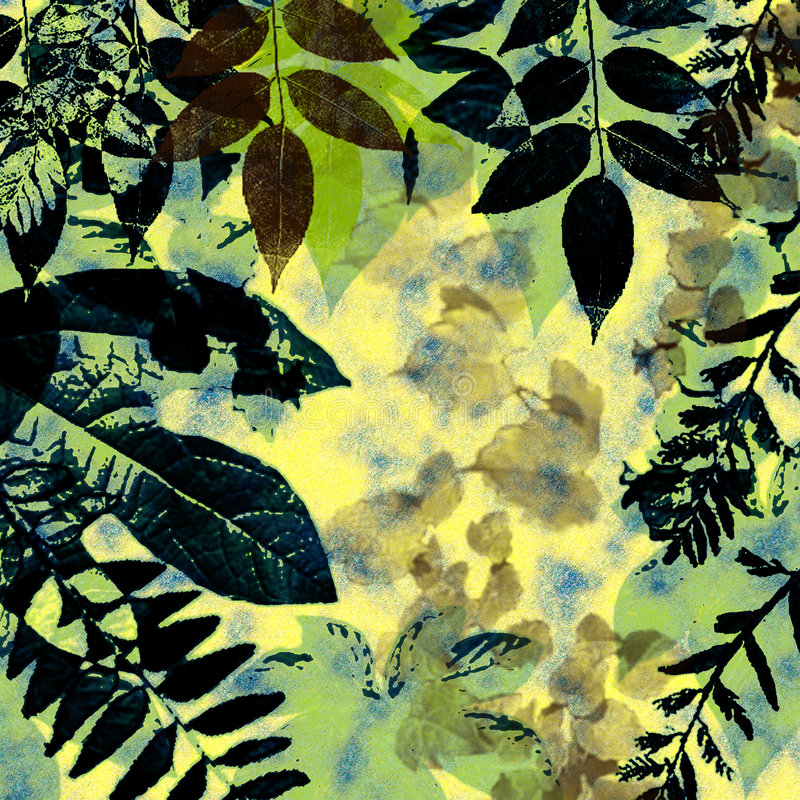 Grunge Leaves Silhouette. Leaves silhouettes in greens, browns and yellow tones grunge style background royalty free illustration