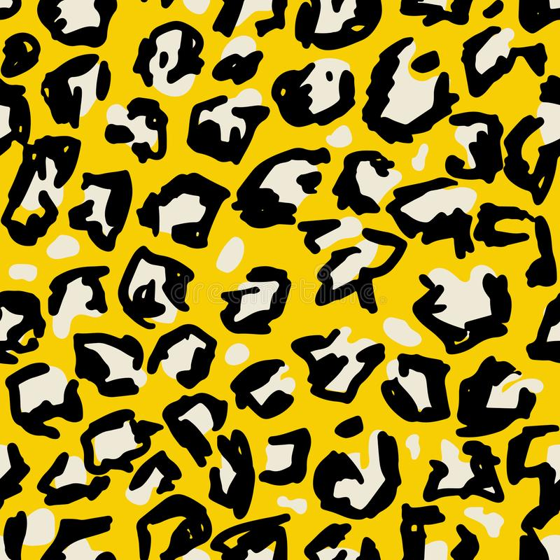 Grunge leopard print. Wild seamless pattern. Yellow hand drawn background. vector illustration