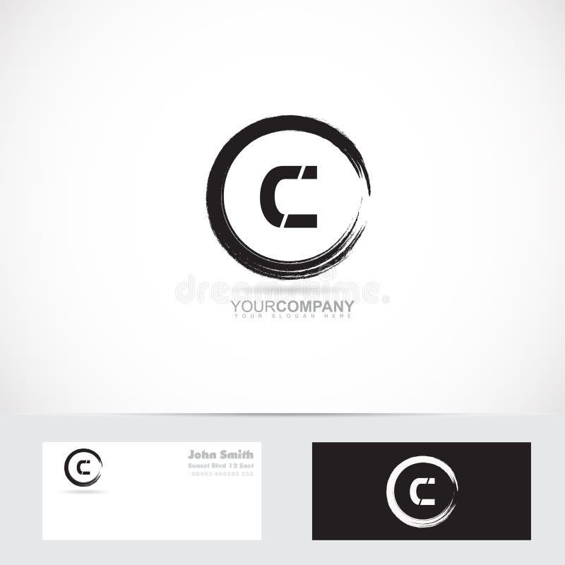 Grunge letter c circle logo vector illustration