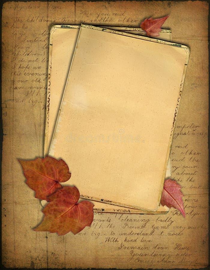 grunge liści jesienią papiery royalty ilustracja