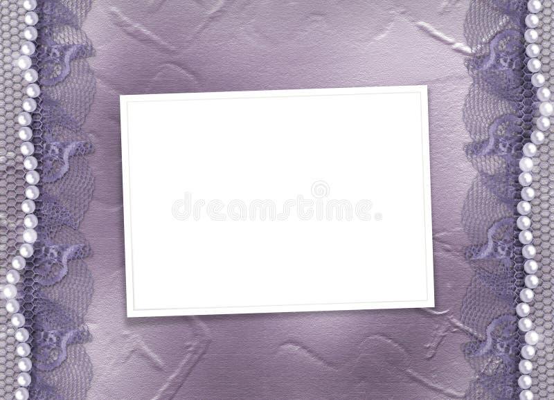 Grunge lila Feld für Foto mit Perlen lizenzfreie abbildung