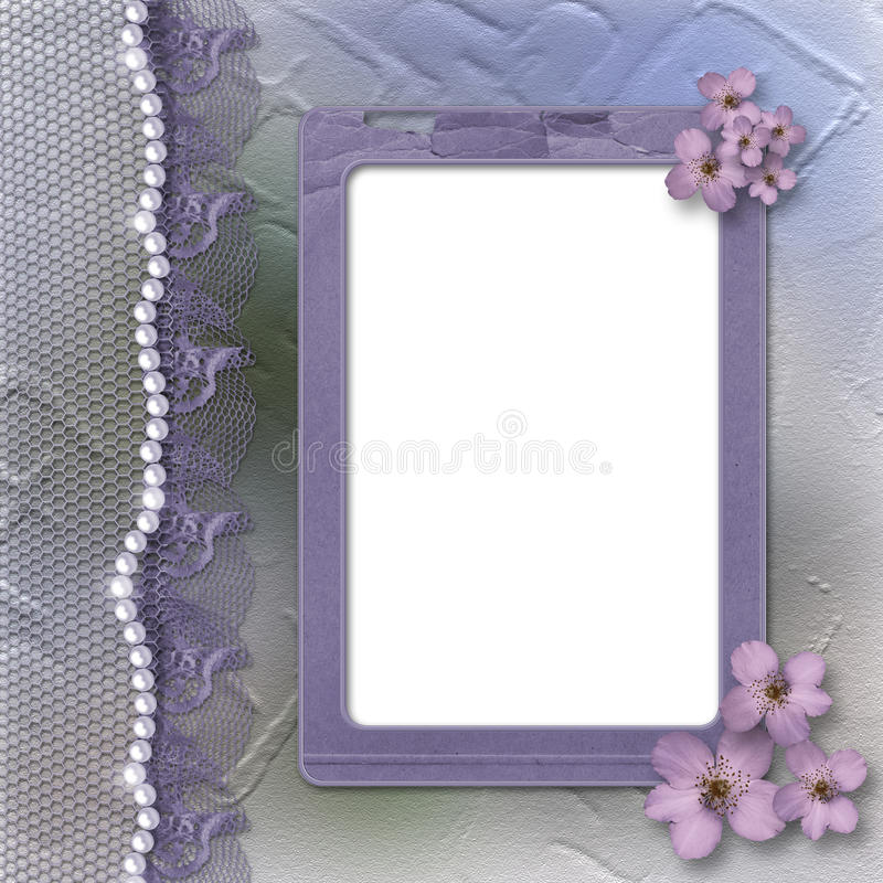 Grunge lilac frame for photo with pearls and lace vector illustration