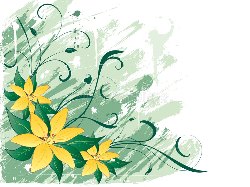 Grunge lillies vector illustratie