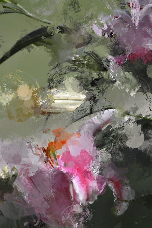 Grunge Lily Flower pintada artesano ilustración del vector
