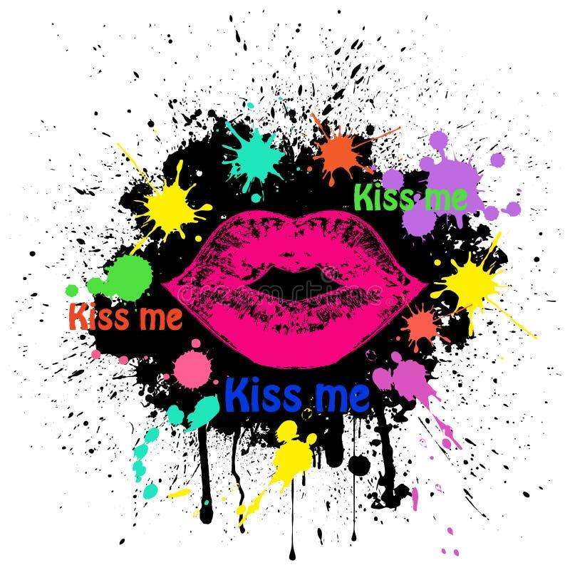 Grunge Lippen auf Schwarzem stock abbildung