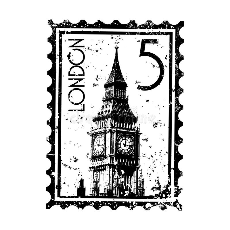 grunge London postmark znaczka styl ilustracja wektor