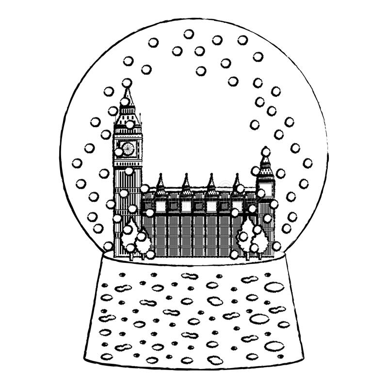 Grunge London zegarowy wierza wśrodku śnieżnego szkła ilustracji