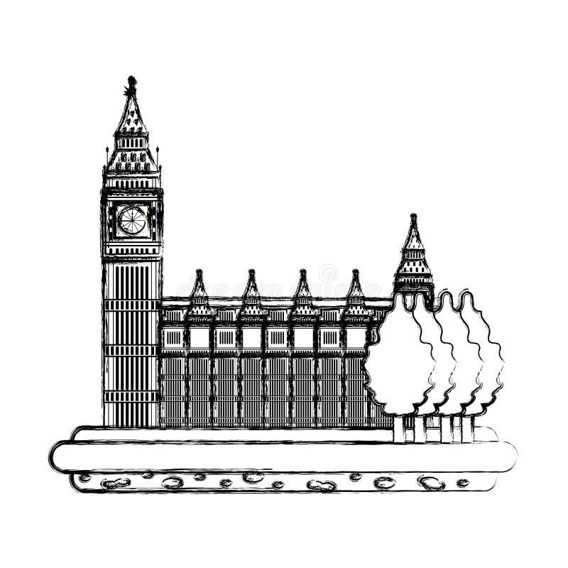 Grunge London zegarowy wierza z drzewo krajobrazem ilustracji