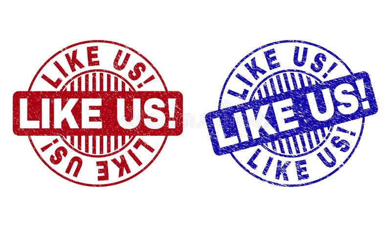 Grunge LUBI USA! Textured Round znaczki ilustracja wektor