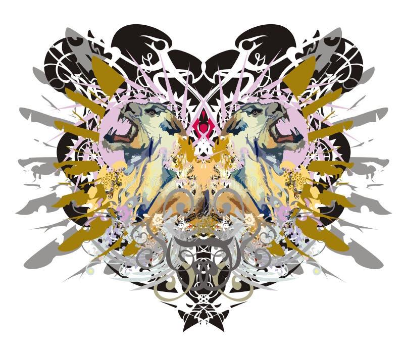 Grunge lwicy agresywne głowy przeciw orła tłu ilustracja wektor
