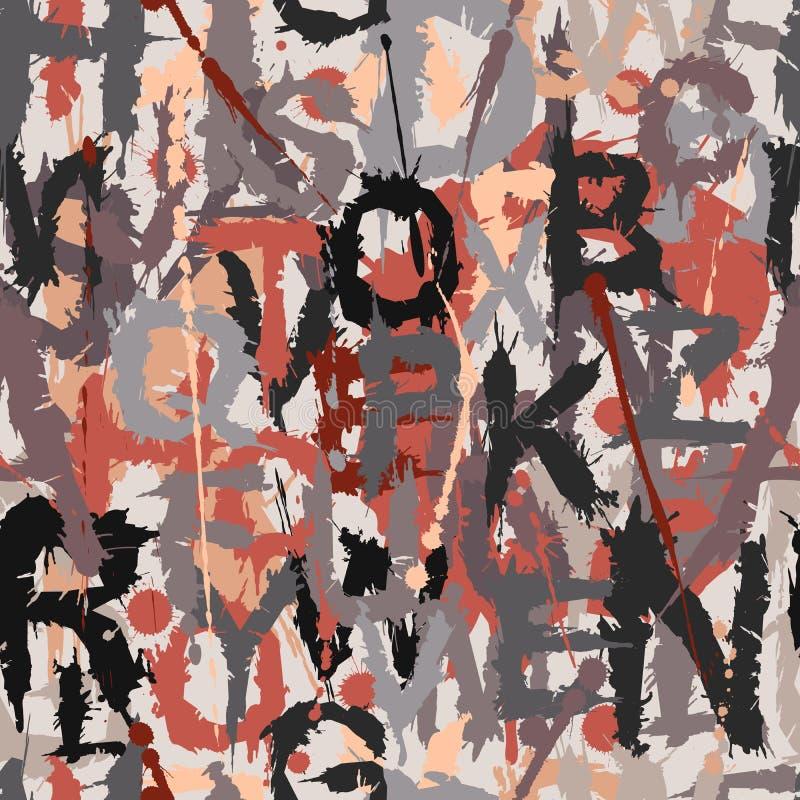 Grunge märker den sömlösa tegelplattan stock illustrationer