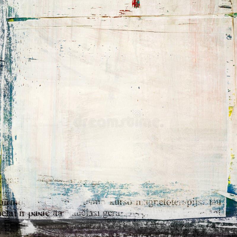 Grunge målad sönderriven pappers- collage som knäckas stock illustrationer