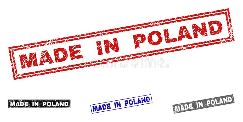 Grunge MADE IN POLAND Scratched Rectangle Stamp Seals royalty free illustration