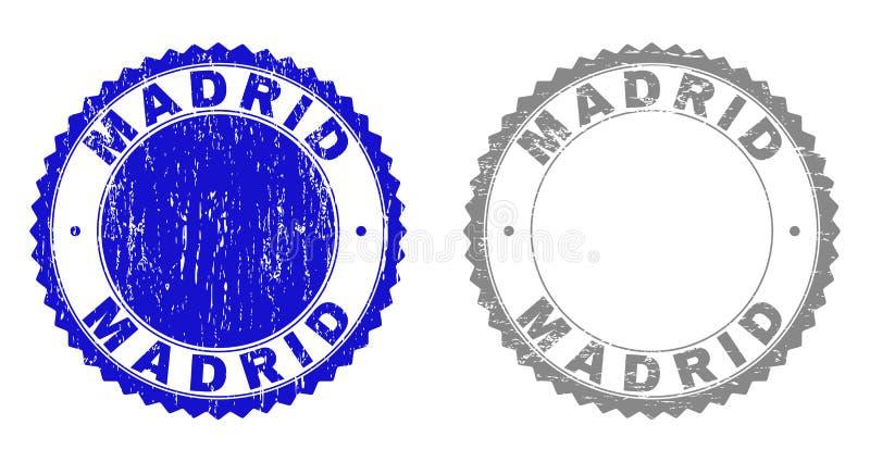 Grunge MADRID Textured Stamps royalty free illustration
