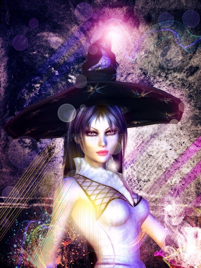 Grunge magic girl stock illustration