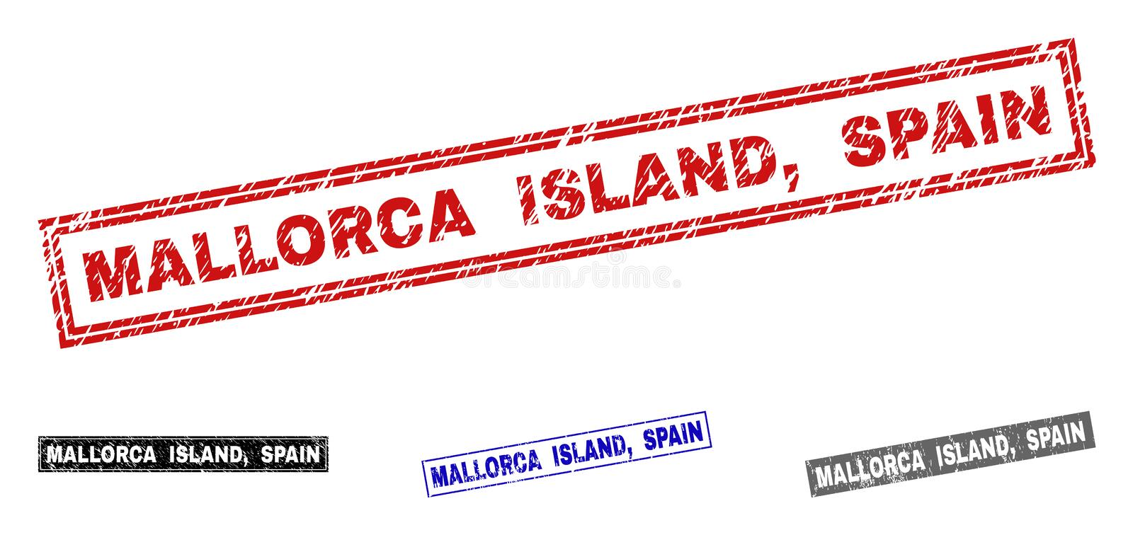 Grunge MALLORCA ISLAND, SPAIN Scratched Rectangle Watermarks stock illustration