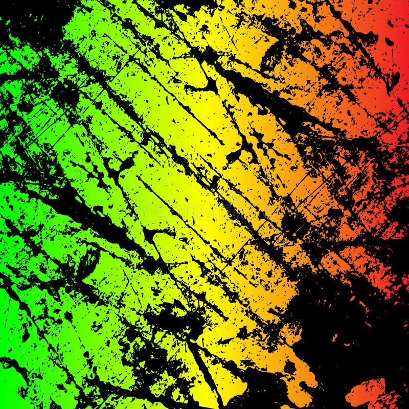grunge malujący porysowany tekstury tło EPS10 reggae ilustracyjni kolory zielenieją, kolor żółty, czerwień ilustracja wektor
