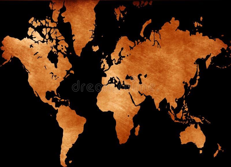 grunge mapy świata royalty ilustracja