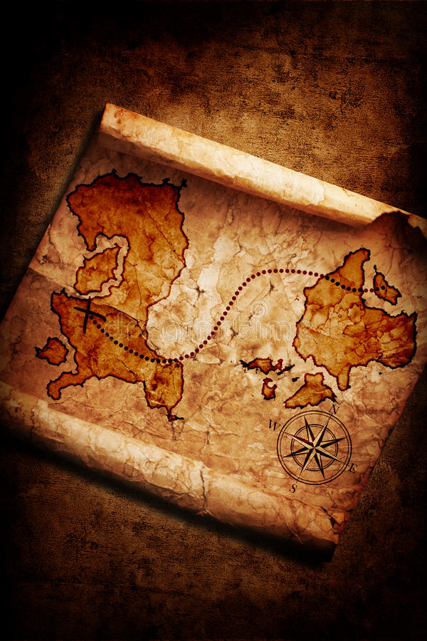 grunge mapy stary skarb obrazy stock