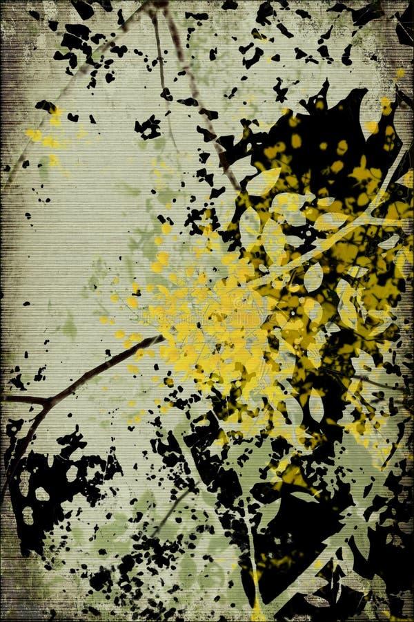Grunge marcou a silhueta da flor imagem de stock royalty free