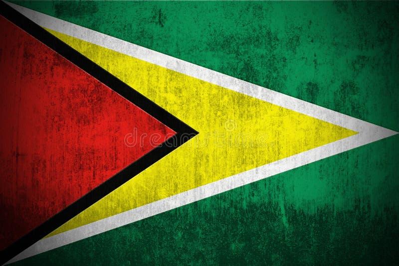 Grunge Markierungsfahne von Guyana lizenzfreie abbildung