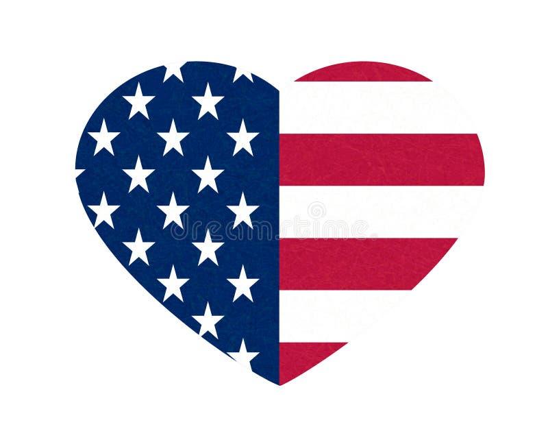 Grunge Markierungsfahne von USA Lokalisierte amerikanische Fahne mit verkratzter Beschaffenheit im Herzen Flache Art, Vektor mit  stock abbildung