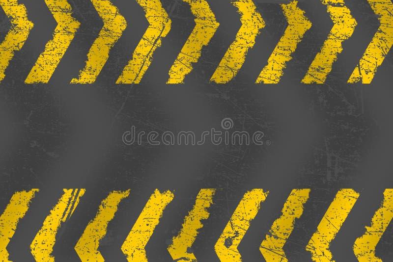Grunge martwił żółtych drogowego ocechowania paintbrush uderzenia lampasy royalty ilustracja