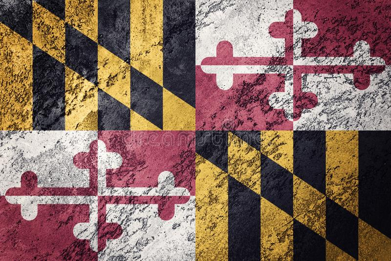 Grunge Maryland stanu flaga Maryland flaga tła grunge tekst fotografia royalty free