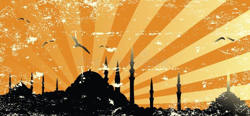 grunge meczetowy raster sylwetki rocznik ilustracji